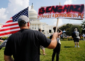Protesters rally to protest against the U.S. government's response to the deaths of four Americans during an Islamist militant attack on a U.S. diplomatic compound in Benghazi, in Washington